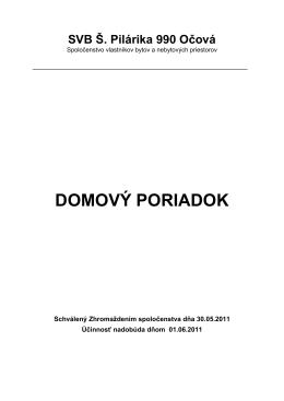 DOMOVÝ PORIADOK - SVB Š. Pilárika 990 Očová