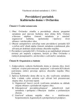 Prevádzkový poriadok Kultúrneho domu v Ovčiarsku