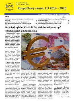 Špeciálny report Rozpočtový rámec EÚ 2014 - 2020 vo