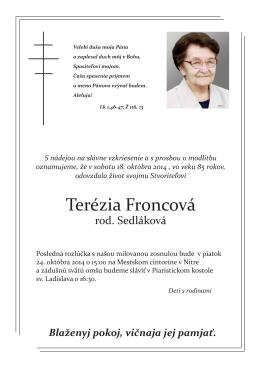 Terézia Froncová - Biskupstvo Nitra