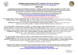 Doplňujúce prijímacie skúšky na II. polrok šk. roka