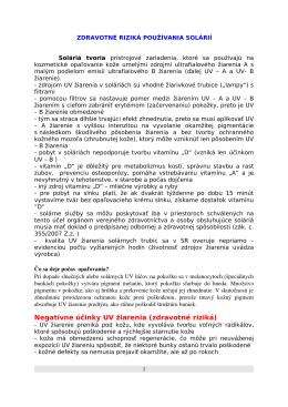 Negatívne účinky UV žiarenia (zdravotné riziká)