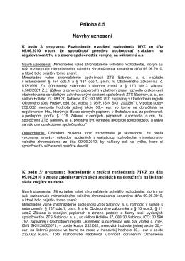 Príloha č. 5 Návrhy uznesení