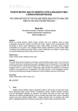 použitie metódy analýzy možných chýb a následkov fmea v