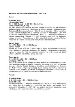 Regionálne osobnosti a udalosti 2014
