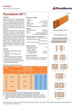Technický list Porotherm KP 7 138,30KB