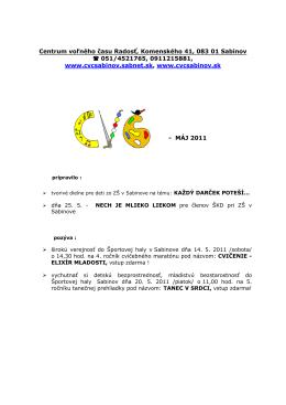 Centrum voľného času Radosť, Komenského 41, 083 01 Sabinov
