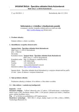 SPOJENÁ ŠKOLA - Špeciálna základná škola Ružomberok