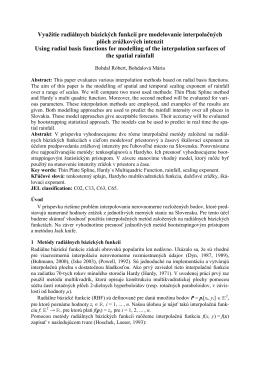 Využitie radiálnych bázických funkcií pre modelovanie