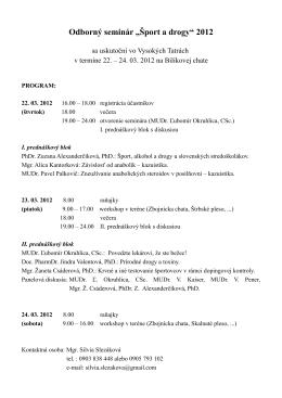 """Odborný seminár """"Šport a drogy"""" 2012"""