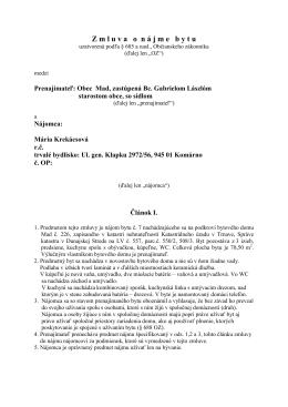 Zmluva o nájme bytu - Mária Krekácsová