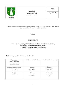 Smernica pre užívanie nebytových priestorov 1-2013