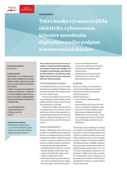 Zavedenie digitálneho vlastnoručného podpisu v Tatrabanke