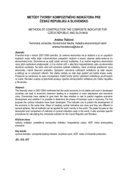 metódy tvorby kompozitného indikátora pre českú republiku a