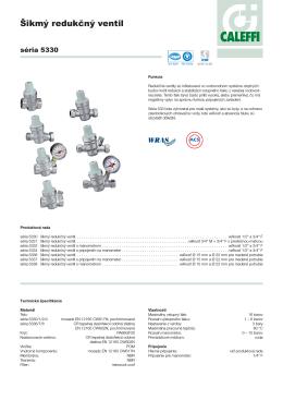 Prospekt a návod k redukčným ventilom