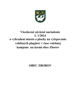 VZN č. 1/2014 o vyhradení miesta a plochy na vylepovanie