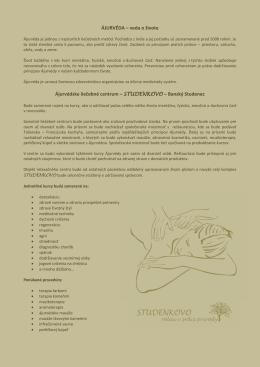 ÁJURVÉDA – veda o živote Ájurvédske liečebné
