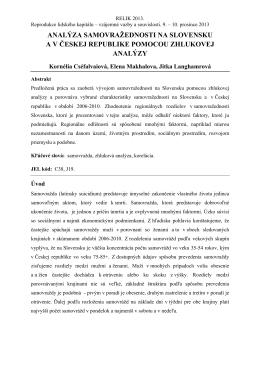 analýza samovražednosti na slovensku av českej republike