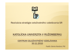 Realizácia stratégie celoživotného vzdelávania SR