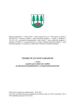 VZN č. 2/2013 o parkovaní a odstavení vozidiel na