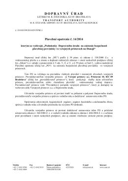 PO14-2014 - Dopravný úrad