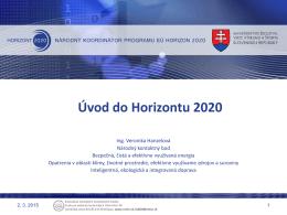 Veronika Hanzelová, CVTI SR, Horizont 2020