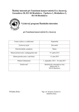 Výchovný program Školského internátu
