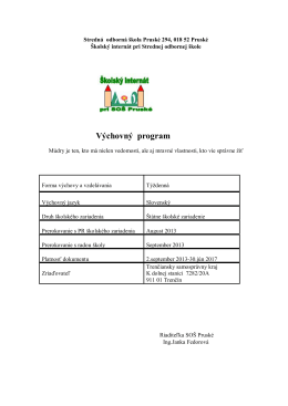 Výchovný program - Stredná odborná škola Pruské