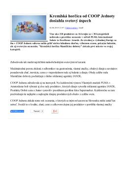 Kremžská horčica od COOP Jednoty dosiahla svetový úspech