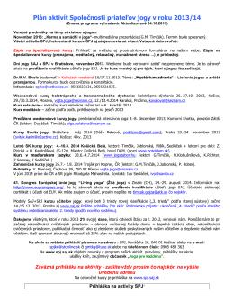 Plán aktivít Spoločnosti priateľov jogy v roku 2012