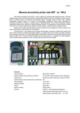 Meracie prevodníky prúdu radu IMT - xx / IM-A