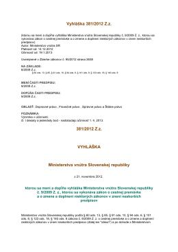 Vyhláška MV SR č. 381/2012 Z. z.