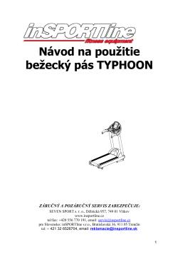 Návod na použitie bežecký pás TYPHOON