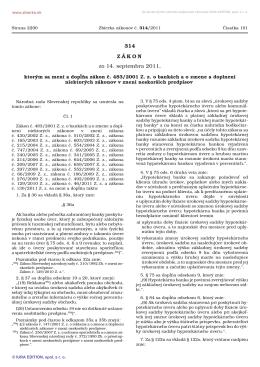 314/2011 Zákon, ktorým sa mení a dopĺňa zákon č. 483