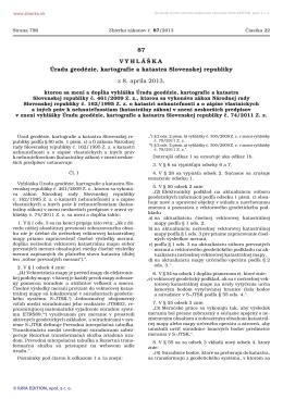 Vyhláška Úradu geodézie, kartografie a katastra Slovenskej