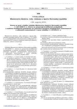 366/2010 Vyhláška Ministerstva školstva, vedy