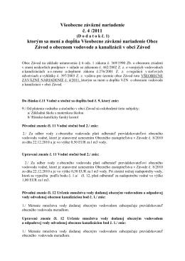 Všeobecne záväzné nariadenie č. 4 /2011 ktorým sa