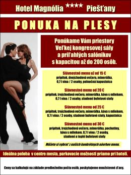 Ponuka plesov - Hotel Magnólia