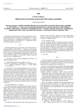 209/2013 Vyhláška Ministerstva životného prostredia Slovenskej
