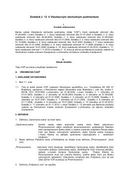 Dodatok č. 12 k všeobecným obchodným podmienkam