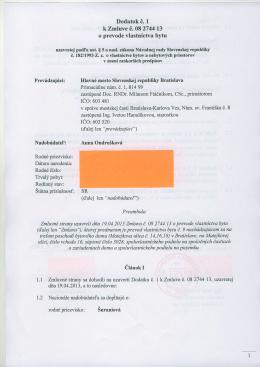 Dodatok i. 1 k Zmluve i. 08 274413 o prevode