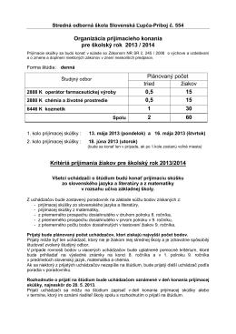 663008 Stredná odborná škola, Príboj 554, Slovenská ?up?
