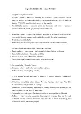 Egzamin licencjacki – język słowacki