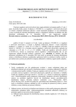 úrad pre reguláciu sieťových odvetví rozhodnutie