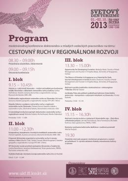 Program - Katedra Manažmentu Kultúry a Turizmu