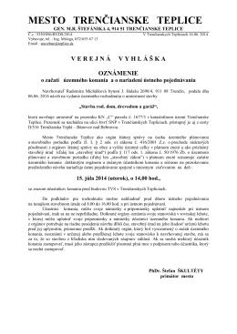 Oznámenie o začatí územného konania a o nariadení ústneho