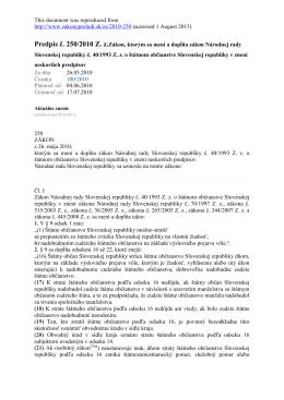 Predpis č. 250/2010 Z. z. - Zákon, ktorým sa
