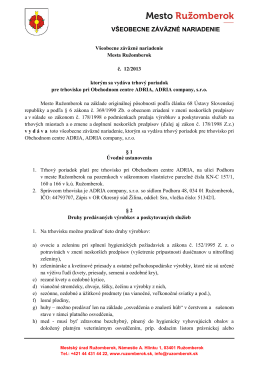 12_2013 ktorým sa vydáva trhový poriadok pre trhovisko pri