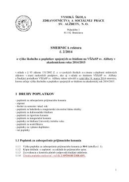 Smernica 2/2014 o poplatkoch