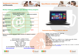 Notebook k Internetu od Slovanetu Špecifikácia